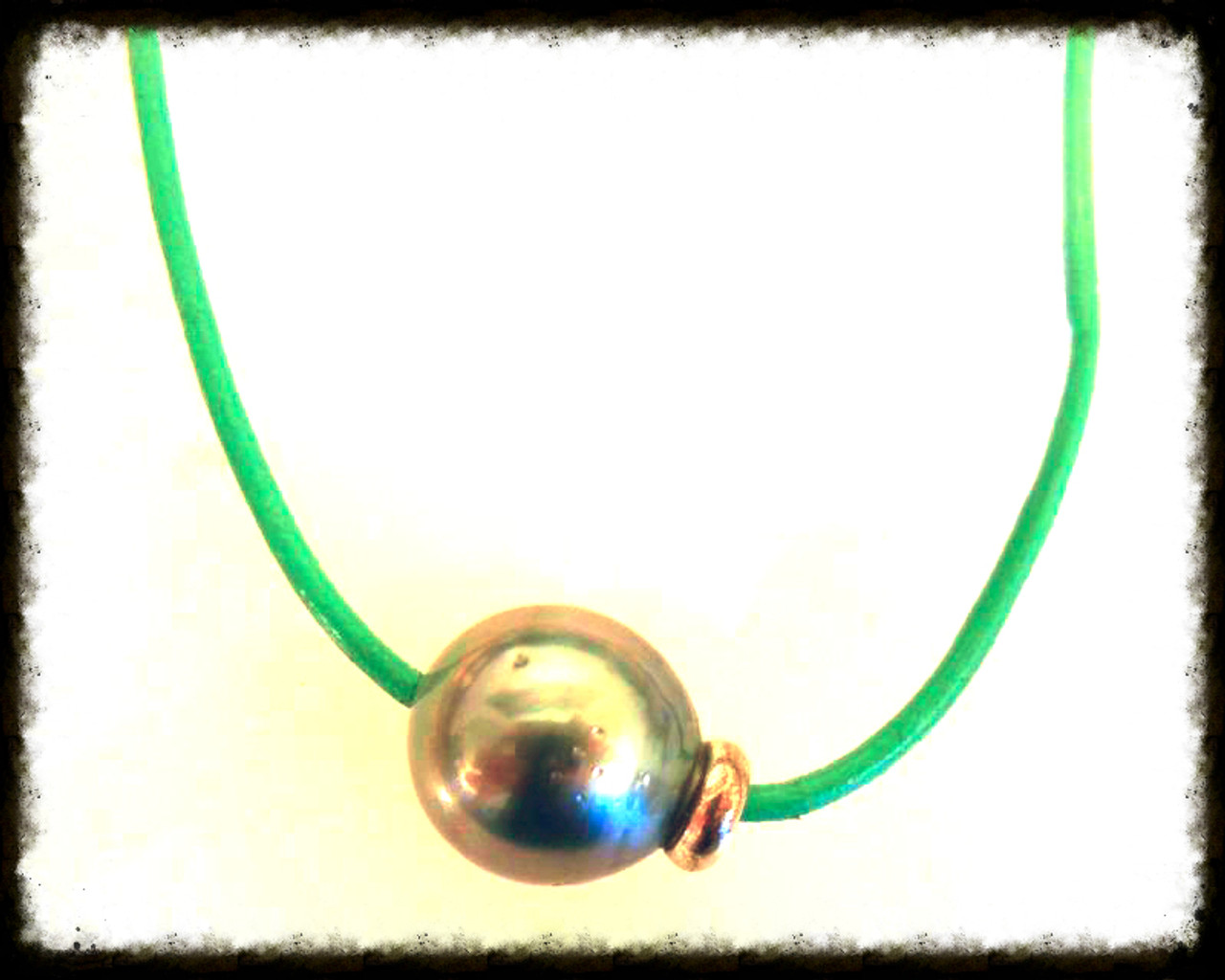 Tahitian pearl on Teal Cord with turquoise on extender chain.