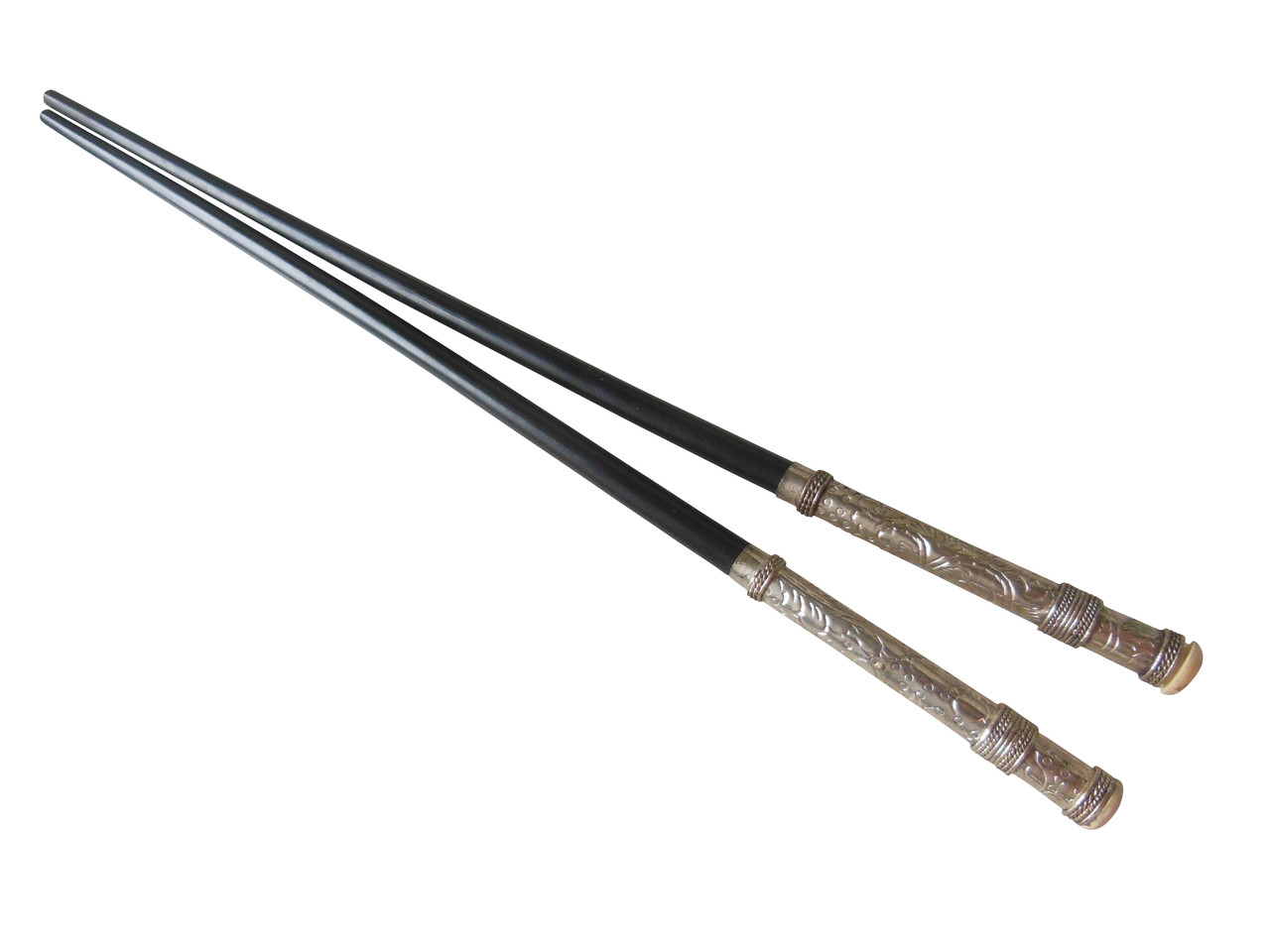 Chopsticks in wood and carved sterling silver with cap end