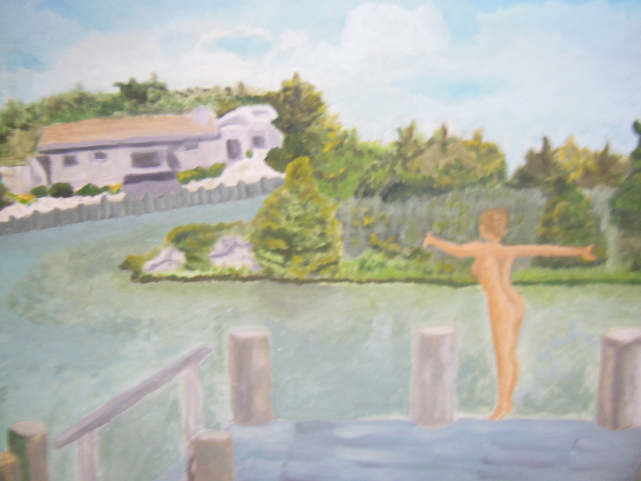 On the Dock-Diving Oil on canvas board- Framed