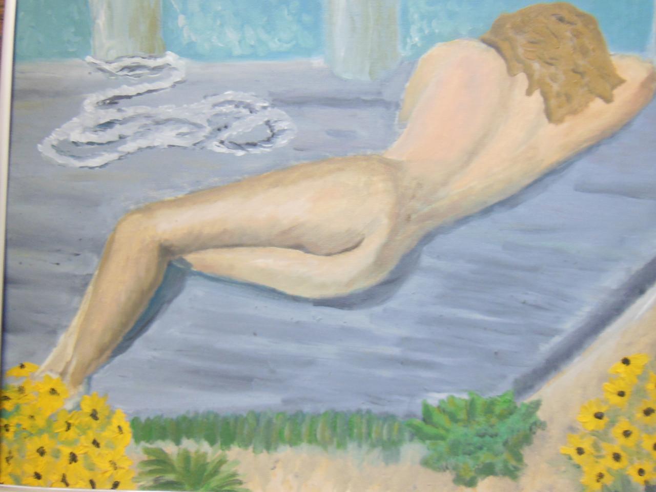 On the Dock Sleeping.  Oil on canvas board- Framed