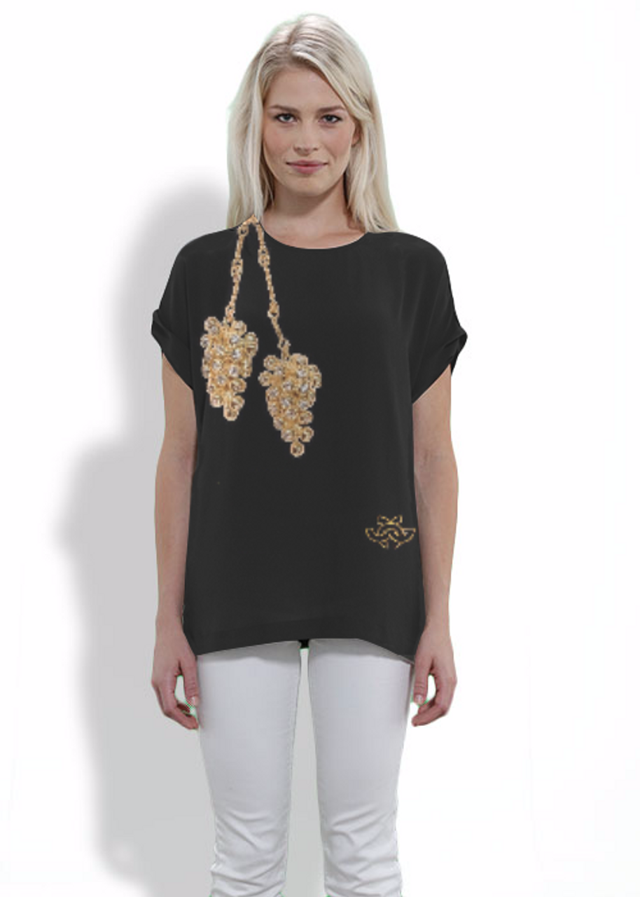 Silk tee shirt featuring a photo of the 18K and diamond grapes necklace