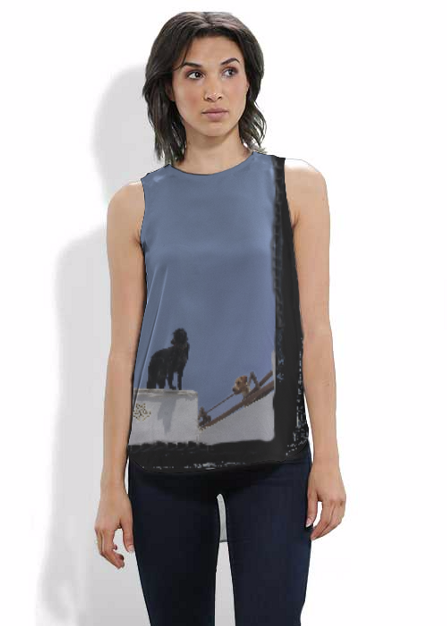 Silk sleeveless shirt. Art meets Fashion. Dogs on a Wall in Santorini, Greece