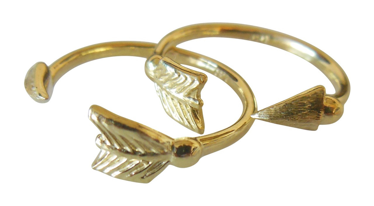 Arrow Stacking Rings - Green Gold- 18K
