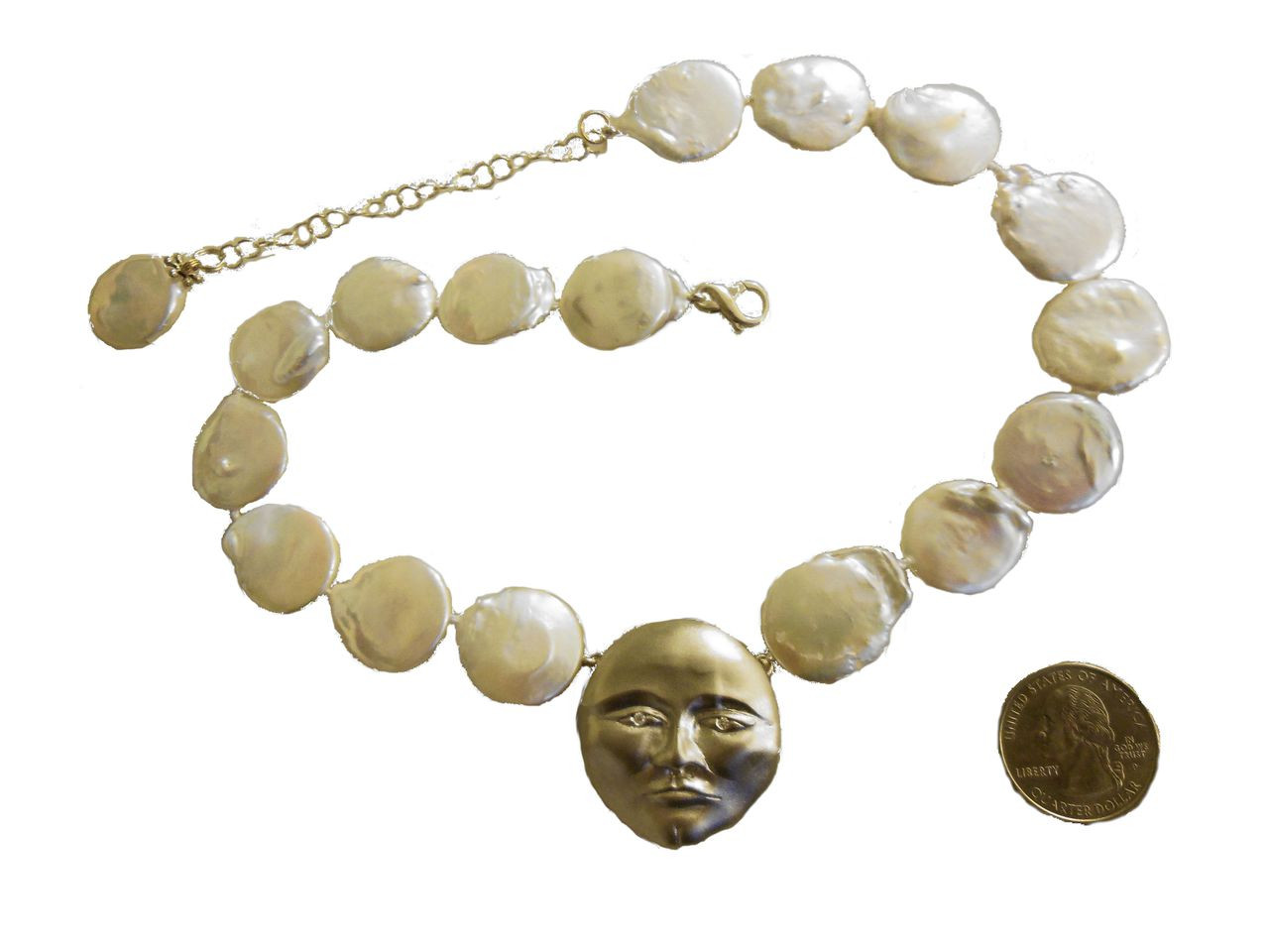 Sterling Silver Face, Diamond Eyes, Huge coin pearl necklace.  Someone to Watch Over Me-Sun/ Moon Collection
