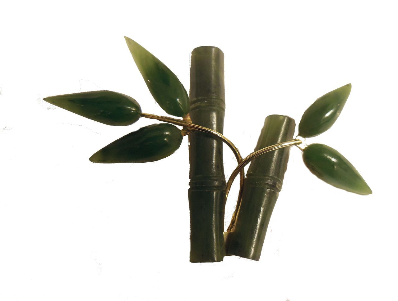 Vintage Jade Bamboo Brooch