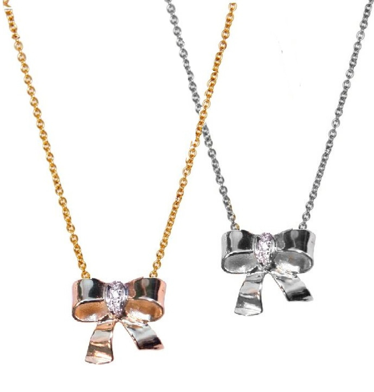 Bow Necklace-Sterling Silver with diamonds on simple chain- Plate options