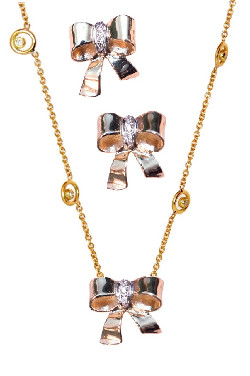 Bow Necklace-14K gold with diamonds on Karma chain with diamond dots
