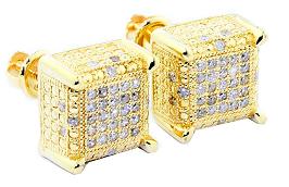 Genuine Diamond Cube Earrings