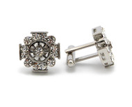 Men's Hip Hop Snow Flake CZ Stone Cuff Links