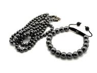 """Mens Black Beaded 4mm 36"""" Chain Bracelet Set"""