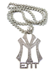 YM Hip Hop Cluster Chains Diamond Cz Pendant Silver