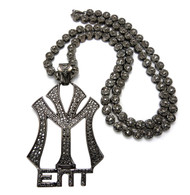 YM Hip Hop Cluster Chain Diamond Cz Pendant Black