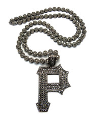 Pittsburgh P Hip Hop Cluster Chain Diamond Cz Pendant