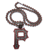 Pittsburgh P Hip Hop Cluster Chain Diamond Cz Pendant Red