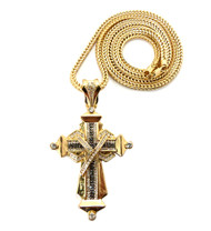 Mens Hip Hop Black & Clear Stone Ribbon Cross Gold