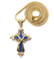 Mens Hip Hop Blue Stone Ribbon Cross Chain Pendant Gold