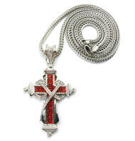 Mens Hip Hop Red Stone Ribbon Cross Chain Pendant Silver