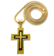 Mens Iced Out Black Yellow Stone Block Cross Pendant Gold