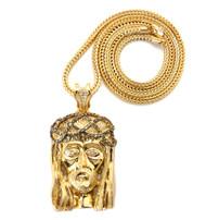 Cz Stone Crown Of Thorns Hip Hop Jesus Piece Pendant Gold