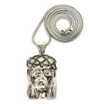 Cz Stone Crown Of Thorns Hip Hop Jesus Piece Pendant Silver