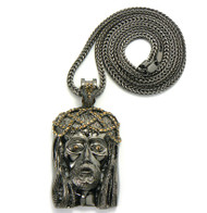 Cz Stone Crown Of Thorns Hip Hop Jesus Piece Pendant Black