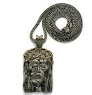 Cz Stone Crown Of Thorns Hip Hop Jesus Piece Pendant Black