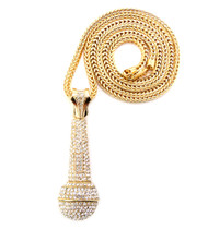 Iced Out Rapper Singer One Mic Microphone Chain Pendant Gold