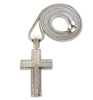 Mens Hip Hop 3D Arc CZ Stone Cross Pendant & Chain Silver