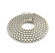 Mens Hip Hop Box Link Chain Necklace Silver