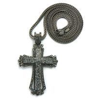 Mens Hip Hop 3D Style Cross Pendant & Chain Black