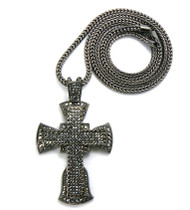 Mens Hip Hop 4 Corners Cross Pendant & Chain Black