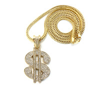 Mens Hip Hop Cash Money Dollar Sign Pendant & Chain Gold