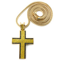 Mens Hip Hop Classic Box Cross Pendant & Chain Gold