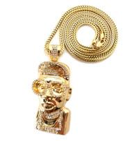 Mens Hip Hop Spike Lee Mars Inspired CZ Chain Pendant Gold