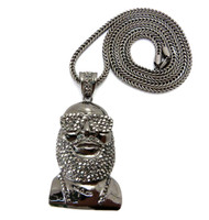 Hip Hop Rick Ross Inspired Medallion CZ Chain Pendant Black