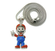 Mens Mario Inspired Hip Hop Chain Pendant Silver