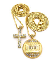 Mens Micro Last Supper Jesus CZ Cross Pendant Chain Set
