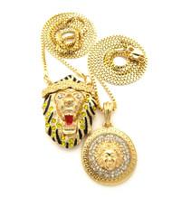 Micro Big Sean Inspired Lion Head Medusa Pendant Chain Set