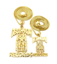 Hip Hop Micro Double Death Row Cz Pendant Chain Necklace Set Gold
