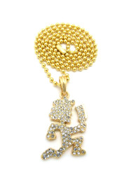 ICP Inspired Hatchetman Hip Hop Pendant Chain Gold