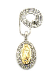 Two Tone Silver Gold Virgin Mary Stone Pendant Box Chain