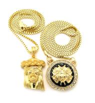 Good Vs Evil Micro Jesus Pendant Medusa Head Hip Hop Chain Necklace