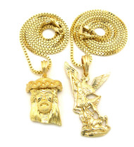 Micro Small Michael Arcangel Crown Jesus Chain Necklace Gold