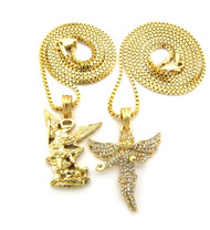 Flying Angel Michael Archangel Pendant Chain Necklace Gold