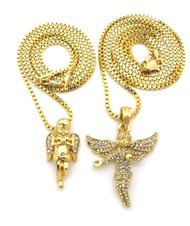 Diamond Cz Stone Winged Angel Small Micro Cherub Pendant