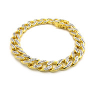 Mens Iced Out Top Quality Hand Set Cz Stone Cuban Link Chain Bracelet Gold