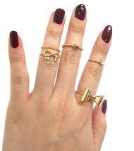 Womens Celebrity Fashion Knuckle Ring Set Gold