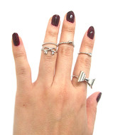 Womens Celebrity Fashion Knuckle Ring Set Silver