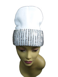 Silver Studded Ladies Celebrity Style White Beanie Hat