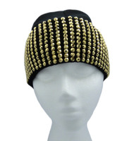 Gold Studded Ladies Celebrity Style Black Beanie Hat